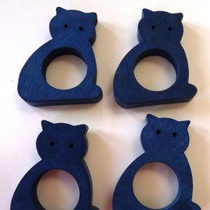 4 Wooden Aarikka Finland Blue Cat Napkin Holders